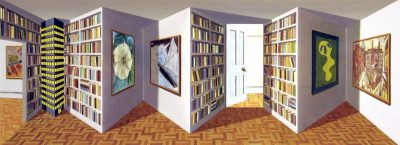 cinétique, huile sur bois 42x95x18 cm