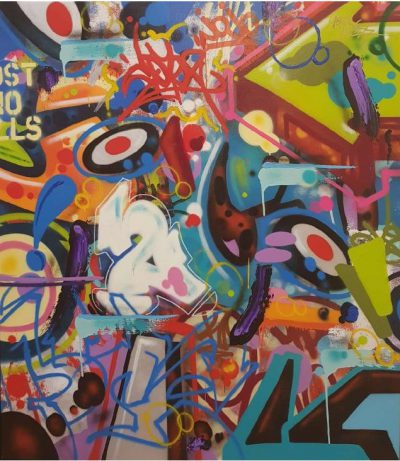 street-Art - acrylique et spray sur toile 147x130 cm