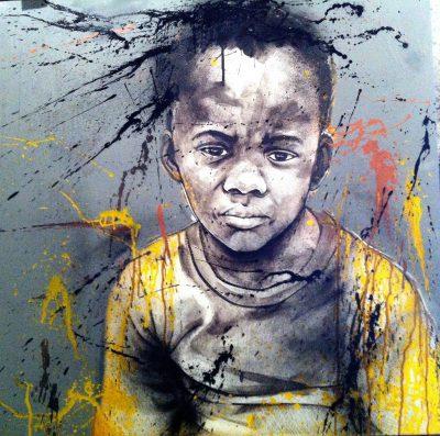 street-Art - acrylique et spray sur toile 80x80 cm